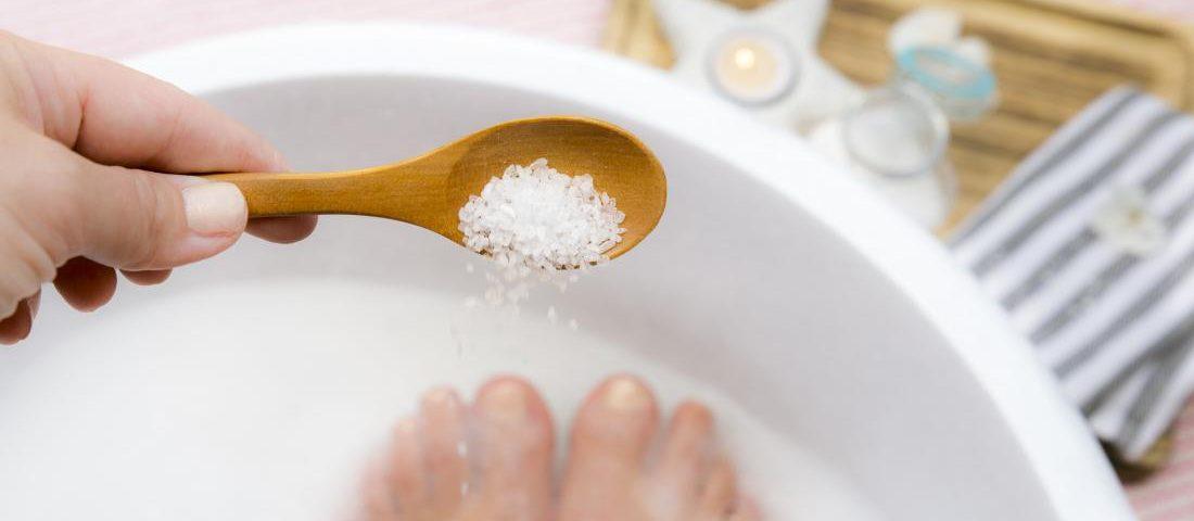 soaking feet in Epsom salt